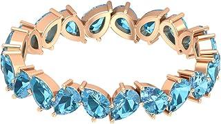 Anello nuziale moderno, anello eternity a zigzag, 3,3 ct a forma di pera creato in laboratorio, acquamarina, pietra portaf...
