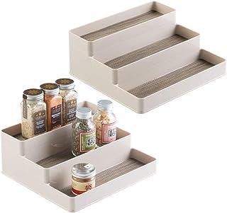 mDesign étagère à épices pour armoire et table de cuisine - rangement pratique des pots à épices - porte-épices à trois ni...