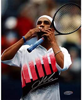 James Blake Andre Agassi Tribute Signed 8x10 Photo - Steiner Sports Certified - Autographed Tennis Photos