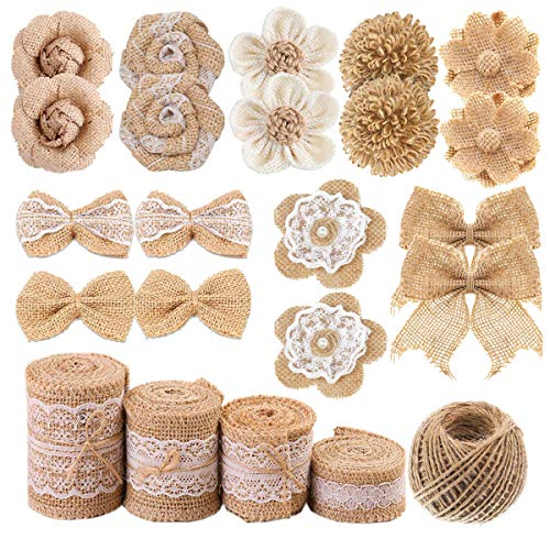 Natural Burlap Flowers Set, Include 9 Styles Handmade Rustic...