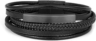 Jovivi 2 Pcs Bead Bracelet for Men Women Lava Rock Essential Oil Diffuser Bracelet Black Leather Natural Stone Beaded Brac...