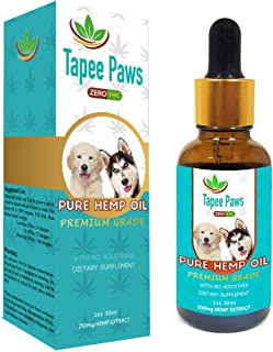 Tapee Paws Hemp Oil for Dogs and Cats 250 mg - Pain Relief, Calming, Fights Cancer, Remedies - Arthritis, Stress, Seizures, Separation Anxiety, Itching & Skin Allergies