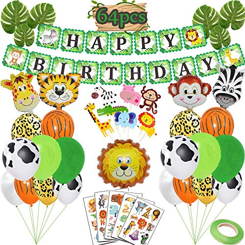 Funnlot Jungle Theme Party Supplies Jungle Safari Theme Party Decorations Include Happy Birthday Banner Safari Animal Balloons Jungle Theme Cupcake Toppers Tattoos Palm Leaves for Jungle Party