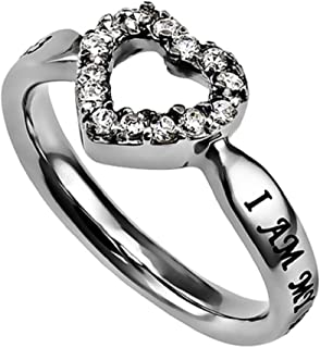 Spirit & Truth I Am My Beloved and He is Mine CZ Open Heart Ring Silver Stainless Steel with Verse