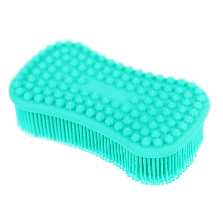 Blue+Sky Blue Food-Grade Antibacterial Silicone Non Stick Dishwashing Brush Sponge Dish Towel Scrubber for Kitchen Wash Pot Pan Dish Bowl//Wash Fruit and Vegetable