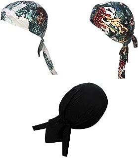 Danbanna Deluxe Lot Set of 3 Tattoo Pinup Girls and Solid Black Biker Durag Head Wrap Cap Hat Sweatband