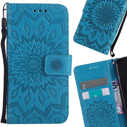 LEMORRY Handyhülle für Wiko Pulp Fab 4G Hülle Tasche Ledertasche Beutel Haut Schutz Magnetisch SchutzHülle Weich Silikon Cover Schale für Wiko Pulp Fab 4G, Blühen Blau