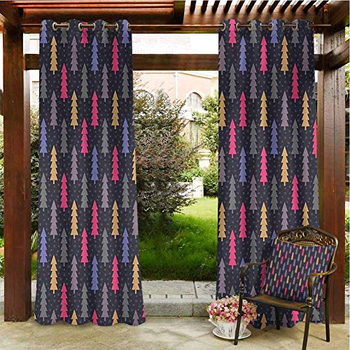 Christmas Pergola Curtain Abstract Style Digital Woodland Noel Trees with Snowflakes Forest in Vibrant Tone Porch Grommet Bathroom Curtain 84x84 INCH,Multicolor