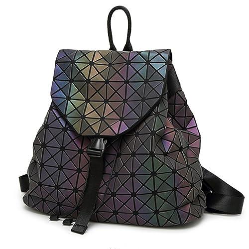 6f177f6d25b1 HotOne Shard Lattice Design Geometric Backpack Holographic Reflective  Backpacks PU Leather Fashion Backpack(Luminous)