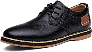 2019 Mens New Lace-up Flats Men's Lace-up Style Leather Flat with Business Oxford Soft Driving Casual Shoes Casual Wing Shoes