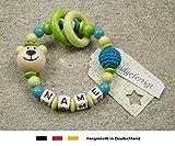 Baby Greifling Beißring geschlossen mit Namen - individuelles Holz Lernspielzeug als Geschenk zur Geburt Taufe - Mädchen Jungen Motiv Bär