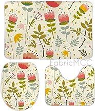 Bath Rugs for Bathroom Non-Slip Absorbent Bathroom Rug, Floral Print Flower Green Botany Design Pedicel Floral Design 3 Pi...