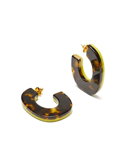 Kate Spade New York Urban Jungle Resin Hoops Earrings (Flo Yellow) Earring