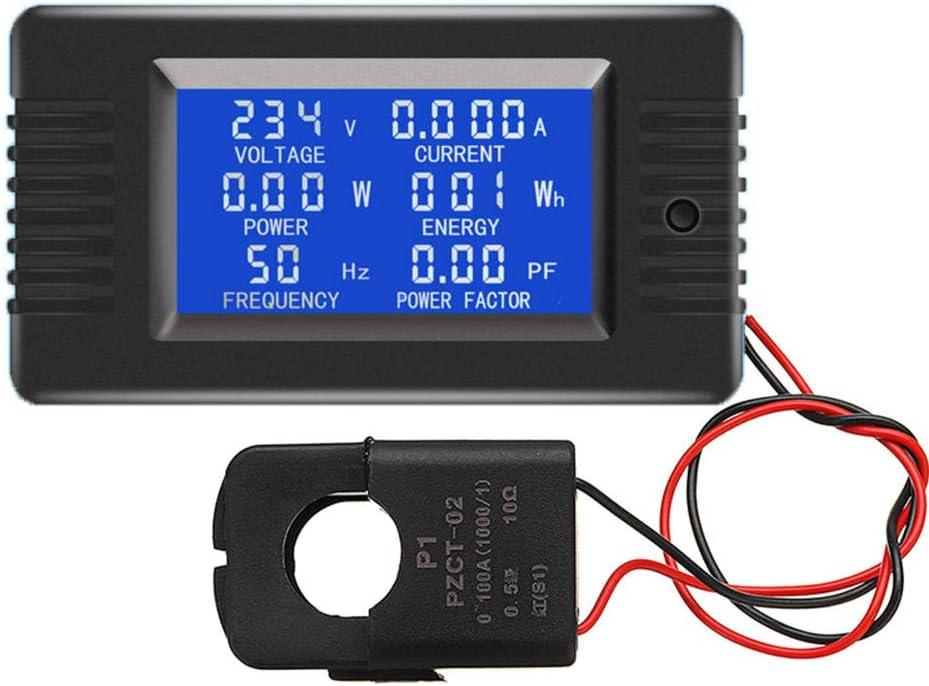 DollaTek AC 80-260V 100A Voltaje de corriente Amperaje Medidor de panel de energía de energía Pantalla digital LCD Amperímetro Voltímetro Multímetro con CT abierto