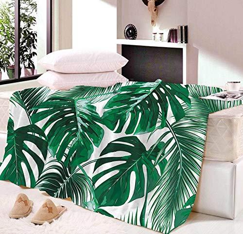 Manta para siesta de hojas verdes muy suave para otoño, diseño de líneas modernas de sherpa colcha de viaje (color: 05, tamaño: cuna 95 x 130 cm)