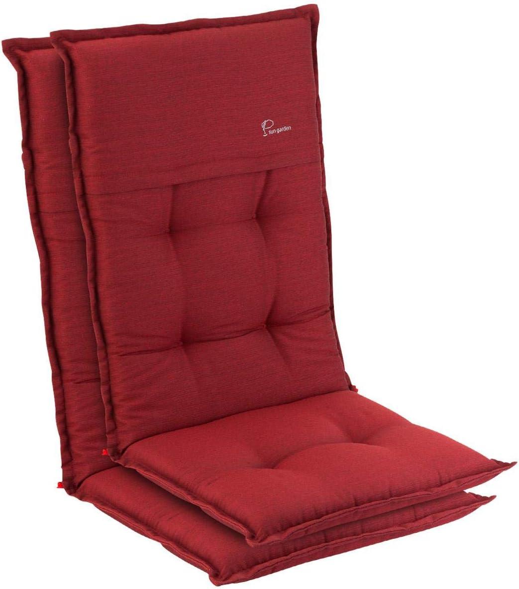 Homeoutfit24 Elbe - Cojín para sillas de jardín, Hecho en Europa, Respaldo Alto de dralón, Lavable, Banda elástica Ajustable, Relleno Espuma, Resistente Rayos UV, 2 Unidades, Rojo