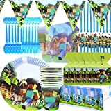 Minecraft Party Tableware Set - BAIBEI Birthday Party Decorations Supplies Children Carnival Party Plates Paper Cups,Tablecloth,Triangle Banner Serve 10 Guests,78pcs
