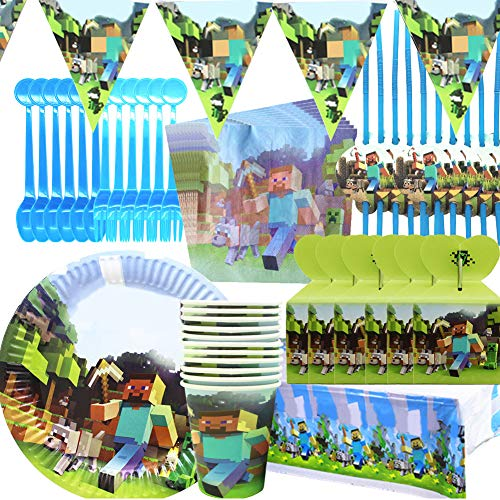 Minecraft Party Tableware Set - BAIBEI Birthday...