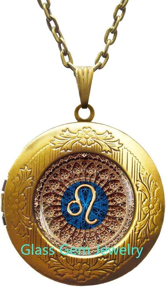 Leo Zodiac Locket Pendant Jewel Necklace Max specialty shop 60% OFF