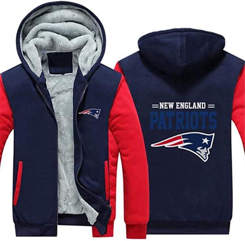PURELOVEE Fu/ßball Kleidung England Patriots Anzug Verdickung Plus Samt Rei/ßverschluss Hood,A,3XL