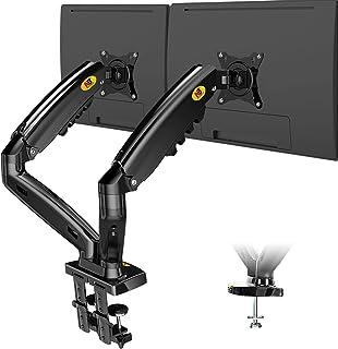 """NB F160 - Support de Bureau pour 2 écrans PC LCD LED 17-27"""" réglage dans Plusieurs Axes, Pivot, Ressort à gaz jusqu'à 2x9 kg"""