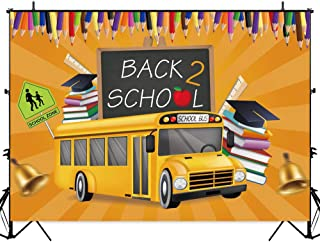 Allenjoy Back to School Backdrop Orange Bus Books Jingle Bell Blackboard Welcome Celebration Party Decorations School Zone Sign Cap Ruler First Day of School 7x5ft Photo Booth Background for Pictures