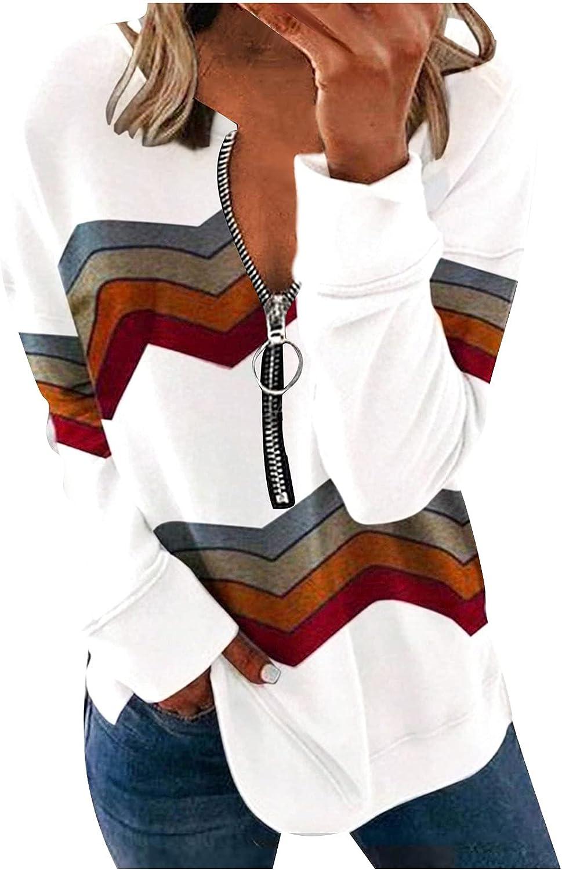 SPOORYYO Womens Casual Long Sleeve Pullover Color Block 1/4 Zip Sweatshirts Loose Comfy Activewear Running Jacket
