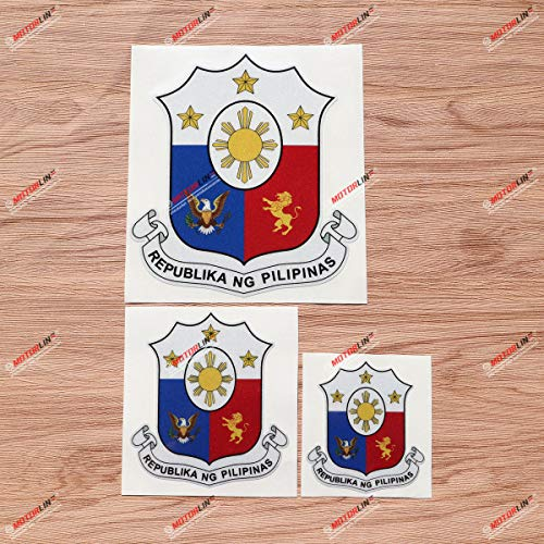 Coat of arms of The Philippines Filipino Pilipinas Decal Vinyl Sticker - 3 Pack Reflective, 3 Inches, 4 Inches, 6 Inches - for Car Boat Laptop Cup Phone