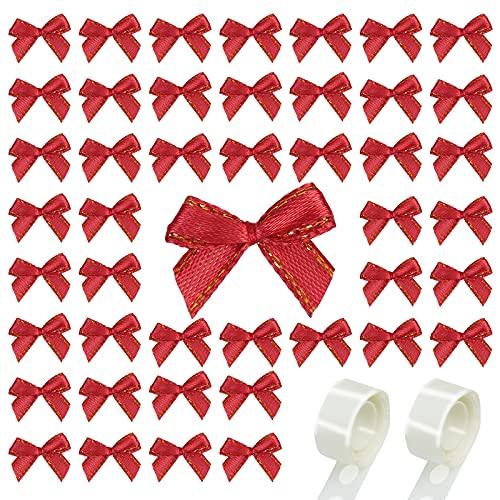 LAMEK 200 Piezas Mini Lazos Navideños Arcos Pequeños para árboles de Navidad Oro Rojo Decoraciones de Navideña para Corona de Navidad Regalo Boda Cumpleaños