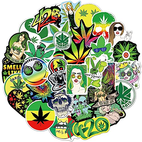 100PCS 50/100 unids / 108pcs Marihuana Stickers Stickers Portátil Guitarra Equipaje Impermeable A Estética Weed Graffiti Decal Packers Packs Kid Toy estéticas (Color : Dark Grey)