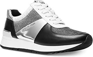 Michael Kors MK Womens Allie Trainer Leather (6.5, Black/Silver)
