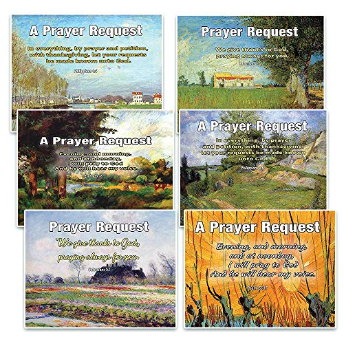 Prayer Request Pew Cards (60-Pack) - NEPC1041 Paintings - Easy Way to Track Your Church Member's Prayer Requests and Support Them in Prayer