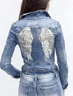 Damen-Jeansjacke mit silbernen Pailletten-Flügeln