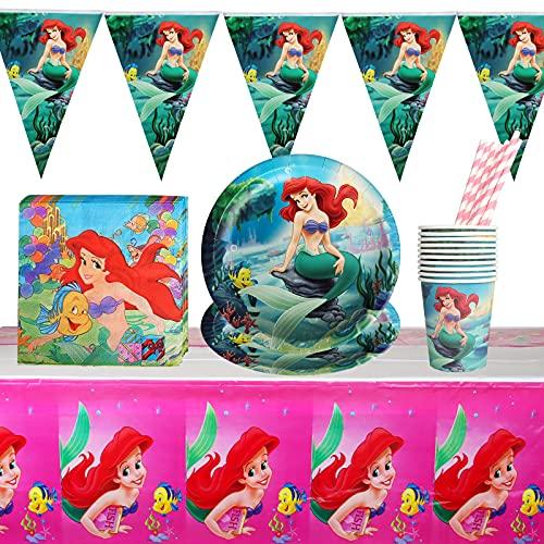 Gxhong 52pcs Ensemble de Vaisselle de fête de sirène,Fournitures de Fête de Sirène Vaisselle Anniversaire Decoration Table Vaisselle de Sirène,Serviettes,Tasses,Assiettes,pour Fête d'anniversaire,Noël