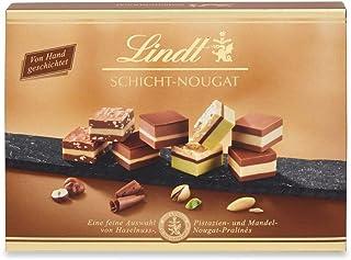 Lindt Schicht-Nougat Pralinen, von Hand geschichteten Mandel-, Haselnuss- und Pistazien-Nougat Spezialitäten, 125g