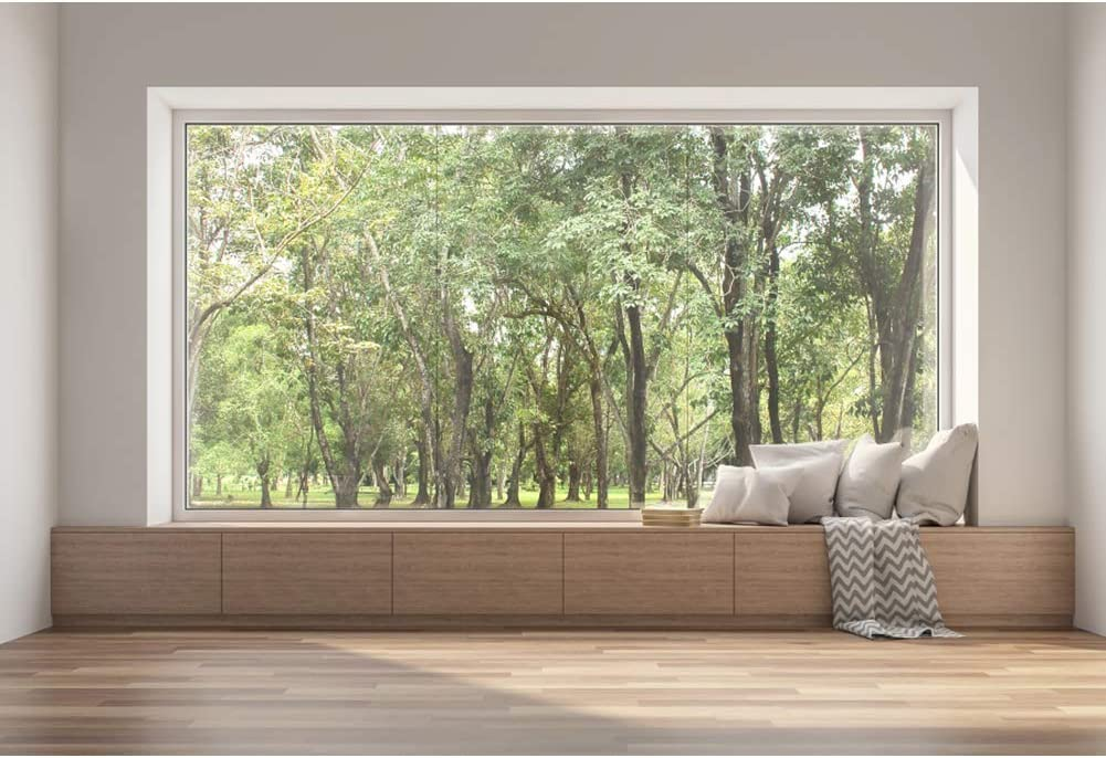 DORCEV 12x10ft Villa Window View Photography Backdrop Sunny Forest Interior French Pane Bay Windows Background Interior Design Decoration Wallpaper Portraits Photo Studio Props