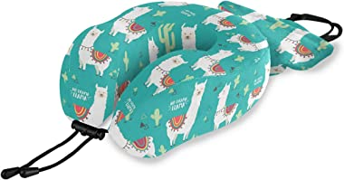 ALAZA Memory Foam Travel Pillow No Drama Llama Alpaca Cactus Neck Pillow for Airplane Travel Kit with Snap Clip, Soft Comfort