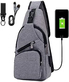 Sling Bag, Bolsa de Pecho con Puerto de Carga USB, Puerto Crossbody para Hombres Mujeres Senderismo Ligero Ciclismo Mochila de Viaje para Acampar (Incluye 1 Cable USB)