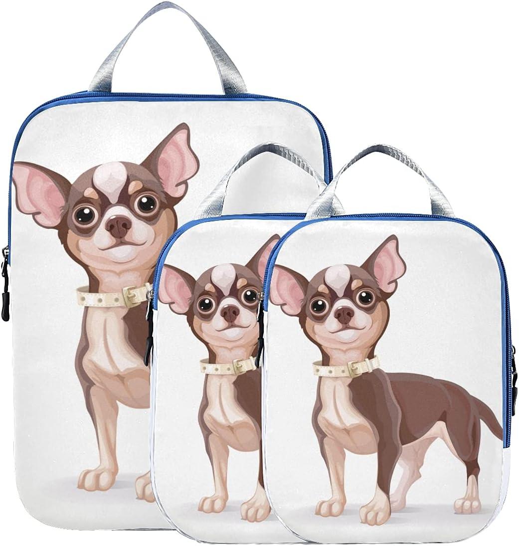 Max 69% OFF Organizer Bag Cute Puppy Dog Cubes Tra Cartoon Portland Mall Packing Chihuahua