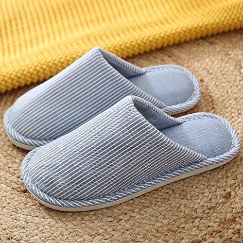 ypyrhh Zapatillas de Invierno Mujer Hombre Pantuflas,Pantuflas de algodón Baotou,Zapatos de Mes Antideslizantes de Suela Gruesa-Blue_42-43,de casa Suaves y cómodas Zapatillas
