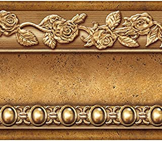 amazon com peel and stick wallpaper borders wallpaperflower molding peel and stick wall border easy to apply (gold brown)