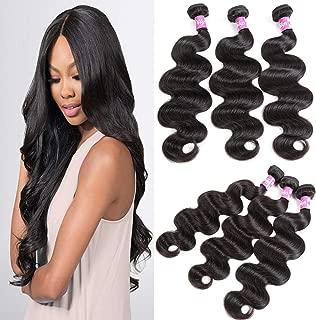 Dilys Hair 10A Brazilian Body Wave Hair Extensions 3 Bundles Human Hair 100% Unprocessed Human Hair Weaves Natural Black(10 12 14inch)