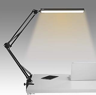Lampe de Bureau, 10 niveaux de luminosité et 3 modes d'éclairage, lampe de bureau à bras mobile avec pince