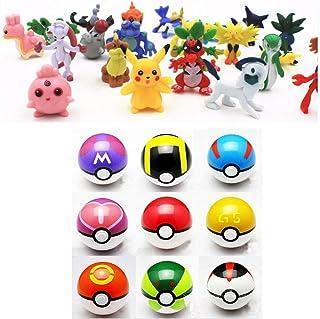 9pcs Pokemon Ball Poke Pokeball Figures Pop Toys Action Figure Pikachu Plus 24pcs Random Anime Figures