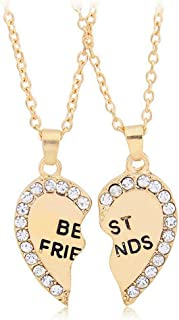 ODETOJOY Best Friends Necklace for 2 BFF Broken Heart Necklace Rhinestone Bestfriends Engraved Letters Pendant