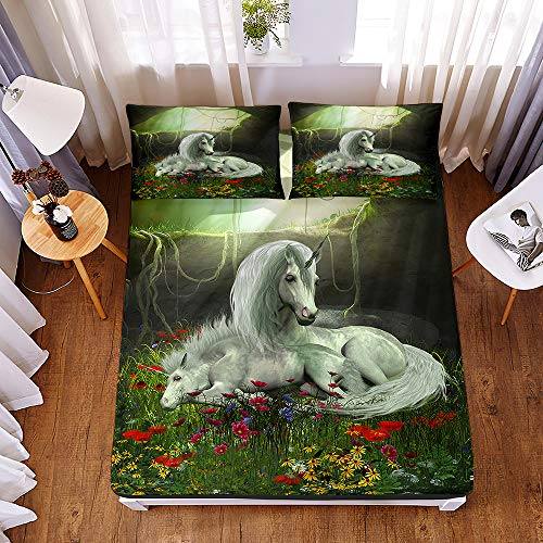 Bedding Fitted Sheets with 2 Pillowcases, Morbuy 3D Beautiful Unicorn Print Bedding Microfiber Soft Fade Resistant Bed Sheets for Single Double King Size Bedsheet Extra Deep 30cm (200 * 200 * 30cm,C)