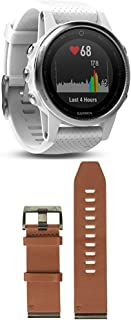 Garmin Fenix 5S - White with Carrara White Band and 010-12517-04 Fenix 5X Quick fit 26 Watch Band - Brown Leather
