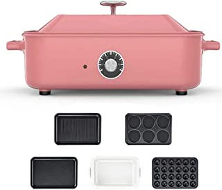 Electric Grill,Heated Electric Multifunction Compact + plate Takoyaki + Covered Pot Ceramic Plate Grill, Indoor BBQ and Gr...