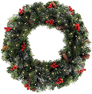Pre-Lit Christmas Garlands Decorations for Stairs Fireplaces Walls Thick Density Artificial Wreath Garland with 50Pcs Led Lig