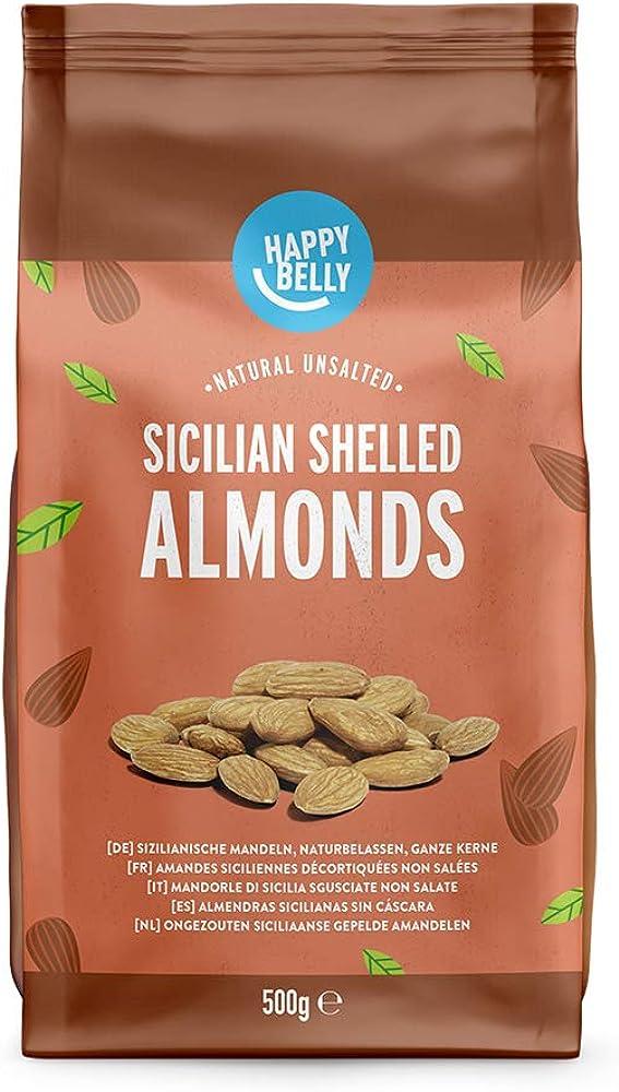 happy belly marchio amazon, mandorle di sicilia sgusciate, 2 confezioni  per 500g